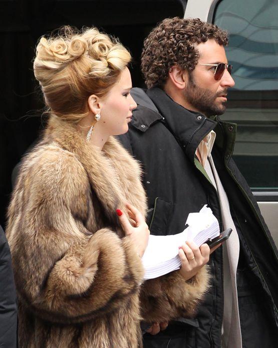 Exclusive... Bradley Cooper & Jennifer Lawrence Rock 70s Styles On Set - ADD FEES